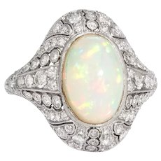 Vintage Natural Opal Diamond Ring Art Deco Platinum Estate Cocktail Ring Sz 7.5