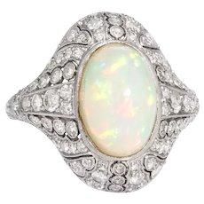 Vintage Natural Opal Diamond Ring Art Deco Platinum Estate Cocktail Ring Sz 7.5