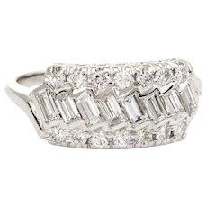 Vintage Diamond Anniversary Ring Mixed Cuts 14 Karat White Gold 0.92ct Estate 8.25