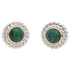Vintage Tiffany & Co Malachite Round Clip Earrings Sterling Silver 18 Karat Gold Fine