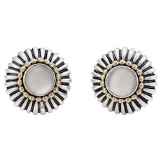 Lagos Caviar Large Round Moonstone Earrings Vintage Sterling Silver 18 Karat Gold