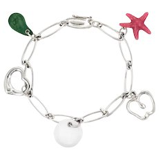 Tiffany & Co Elsa Peretti 5 Charm Bracelet Sterling Silver Estate Starfish Apple