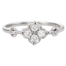 Cartier Hindu Diamond Ring EU 49 US 4 3/4 Estate 18 Karat White Gold Flower Band