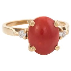 Vintage Ox Blood Coral Diamond Ring 14 Karat Gold Small Cocktail Estate Jewelry 4.25