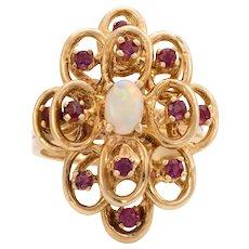 Vintage Opal Ruby Ring 10 Karat Yellow Gold Cocktail Statement Alternative Engagement