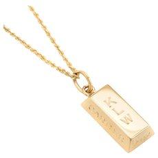 Vintage Cartier 1/4 oz Gold Bar Ingot Pendant Charm 18 Karat Yellow Gold Chain Estate