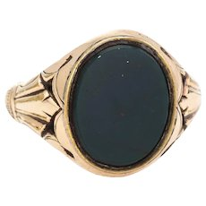 Antique Deco Mens Bloodstone Ring Vintage 9 Karat Yellow Gold Oval Signet Sz 8.5