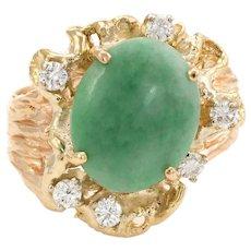 Vintage Jade Diamond Nugget Ring 14 Karat Yellow Gold Cocktail Estate Fine Jewelry