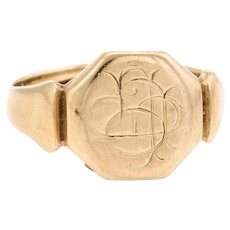 Antique Deco c1928 Signet Ring 9 Karat Yellow Gold Sz 7 Estate Fine Jewelry Heirloom