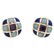 Kabana Opal Amethyst Lapis Lazuli Earrings Estate Round Stud 14 Karat Yellow Gold