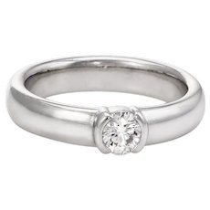 Tiffany & Co Etoile 0.33ct Diamond Solitaire Engagement Ring Platinum Pre Owned