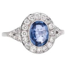 Vintage No Heat Natural Sapphire Diamond Engagement Ring 18 Karat White Gold Estate