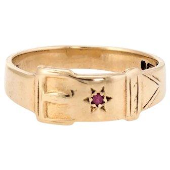 Vintage Buckle Ring Ruby 9 Karat Yellow Gold Estate Jewelry Alternative Wedding Band