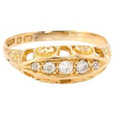 Antique Edwardian Graduated 5 Old Mine Cut Diamond Ring 18 Karat Yellow Gold Vintage