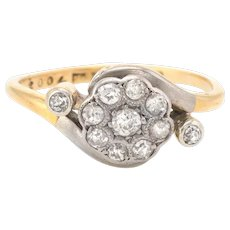 Antique Victorian Diamond Cluster Ring Vintage 18 Karat Gold Platinum Engagement Fine