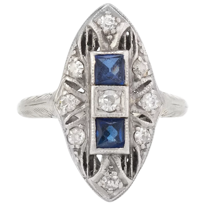 228439f7f Vintage Art Deco Diamond Ring French Cut Sapphire Platinum 18 Karat : Sophie  Jane | Ruby Lane