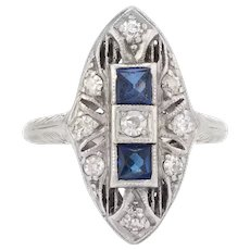 Vintage Art Deco Diamond Ring French Cut Sapphire Platinum 18 Karat White Gold Filigree