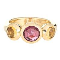 Tiffany & Co Garnet Citrine Ring Estate 18 Karat Gold Sz 6 France Signed Jewelry