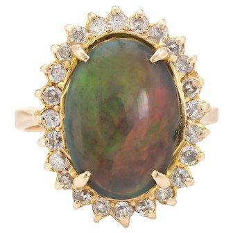 Vintage Natural Black Opal Diamond Ring 18 Karat Yellow Gold Cocktail Statement Sz 6