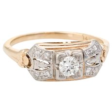 Antique Diamond Ring Art Deco 14 Karat Gold Two Tone Alternative Engagement Vintage
