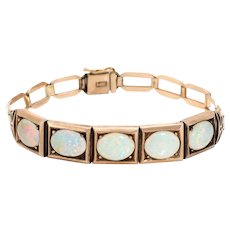 Antique Natural Opal Bracelet Art Deco 14 Karat Rose Gold Vintage Fine Jewelry
