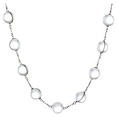 """Antique Deco Pools Of Light Rock Crystal Orb Necklace Long 38"""" Sterling Silver"""