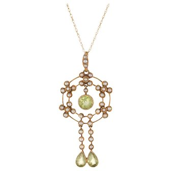 Antique Edwardian Lavaliere Pendant Peridot Seed Pearl Necklace 15 Karat Yellow Gold