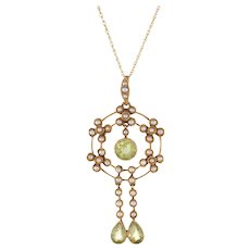 Antique Victorian Lavaliere Pendant Peridot Seed Pearl Necklace 15 Karat Yellow Gold