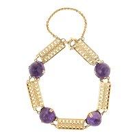 """Vintage Art Deco Sugarloaf Amethyst Bracelet 14 Karat Yellow Gold Trefoil Antique 7"""""""