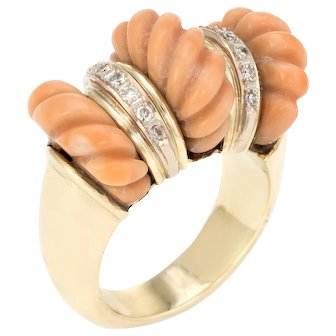 Vintage Fluted Coral Diamond Ring 14 Karat Yellow Gold Cocktail Dome Estate Jewelry