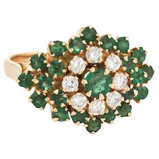 Vintage Emerald Diamond Cluster Ring 18 Karat Yellow Gold Flower Estate Fine Jewelry