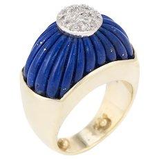 Vintage Fluted Lapis Lazuli Diamond Ring 14 Karat Yellow Gold Domed Estate Jewelry