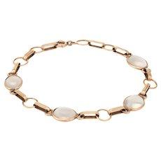 "Antique Deco Moonstone Bracelet Vintage 14 Karat Yellow Gold Estate Fine Jewelry 7"""