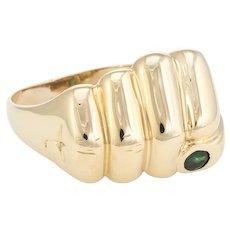 Vintage Mens Fist Pump Ring Tourmaline 9 Karat Yellow Gold Estate Fine Jewelry Sz 13