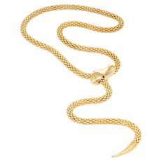 Vintage Snake Slide Necklace 14 Karat Yellow Gold Adjustable Estate Fine Jewelry