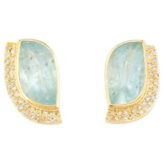 Vintage Aquamarine Diamond Earrings 18 Karat Yellow Gold Statement Estate Jewelry
