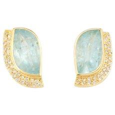 Vintage Aquamarine Diamond Earrings 18 Karat Yellow Gold Statement Estate Jewelry
