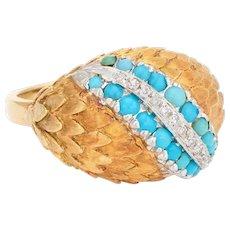 Vintage Turquoise Diamond Ring Dome 18 Karat Yellow Gold Estate Fine Jewelry Sz 6.25