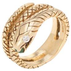 Vintage Snake Ring 14 Karat Yellow Gold Diamond Eyes Alternative Wedding Band Sz 6.25