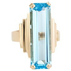 Vintage Large Blue Topaz Ring 14 Karat Yellow Gold Cocktail Jewelry Statement Estate