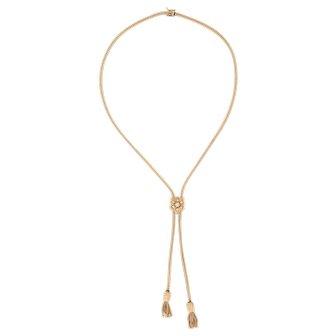Vintage Slide Necklace Opal Tassel 14 Karat Yellow Gold Adjustable Estate Jewelry