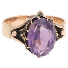 Antique Victorian Amethyst Ring 14 Karat Rose Gold Cocktail Statement Jewelry 7.25