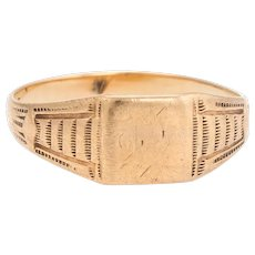 Antique Victorian JR Wood & Sons 10 Karat Yellow Gold Signet Ring Sz 5.25 Vintage
