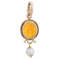 Vintage Venetian Glass Cherub Pendant 14 Karat Yellow Gold Cultured Pearl Jewelry