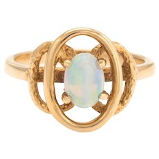 Vintage Small Opal Ring 14 Karat Yellow Gold Oval Cocktail Estate Fine Jewelry 5.75