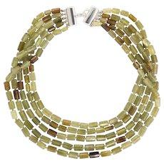 Vintage Tiffany & Co Chrysoberyl Necklace Torsade Multi 5 Strand Estate Jewelry