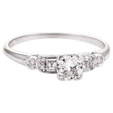 Antique Deco Diamond Engagement Ring Vintage Platinum Estate Fine Jewelry 6.25