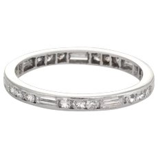 Antique Deco Diamond Wedding Band Sz 6 Vintage Eternity Platinum Mixed Cuts