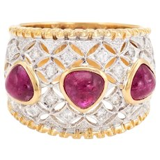 Vintage Cabochon Ruby Diamond Wide Band Ring 14 Karat Gold Pinky Estate Jewelry 4.25