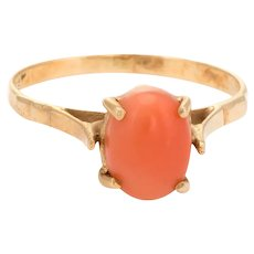 Vintage Coral Ring 14 Karat Gold Small Cocktail Estate Jewelry Sz 5.25 High Rise